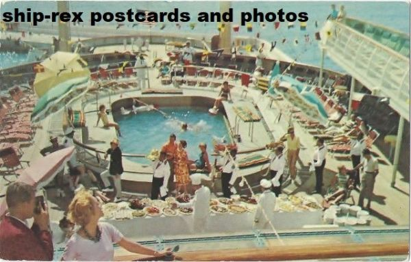 CONSTITUTION (1951) or INDEPENDENCE (1951) Sun Deck, postcard
